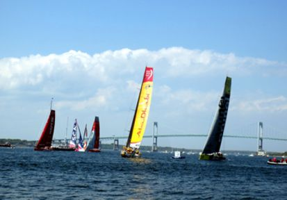 Volvo Sailboat Racing in Newport Harbor, Newport, RI